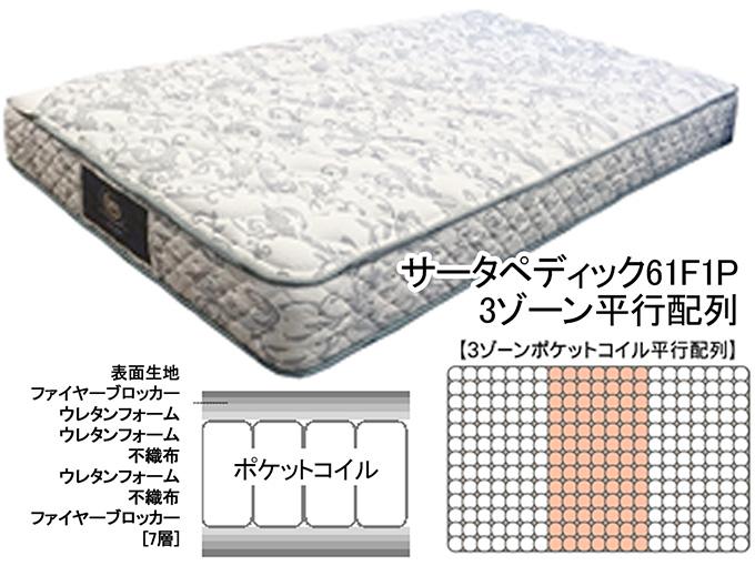 サータ ベッド sertaホテル用 高級ベッドポケットコイルマットレスUSシングルベッドマットぺディック61F1P【ベッドマットレス ベットマットレス ホテル仕様 高級】