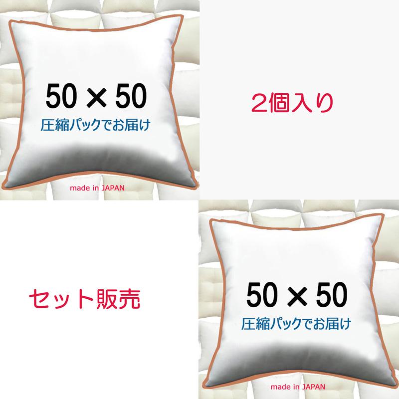 日本製 超激安特価 洗えるふんわりクリーンな殺菌除臭わた 2個セット販売 安値 送料無料 ヌードクッション 50×50cmクッション中身 Insertクッションカバー用本体 クッション中材クッション本体 50x50 Cushion Pillow