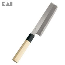 手仕上げによる「本格刃付け」耐久性と切れ味へのこだわり。 貝印 関孫六 金寿本鋼 和包丁 薄刃165mm AK-5222
