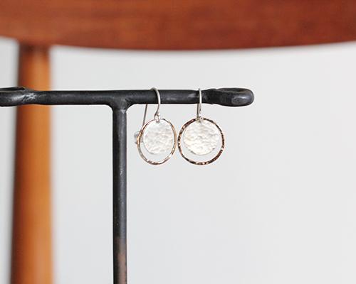 Disk in Hoop Earrings