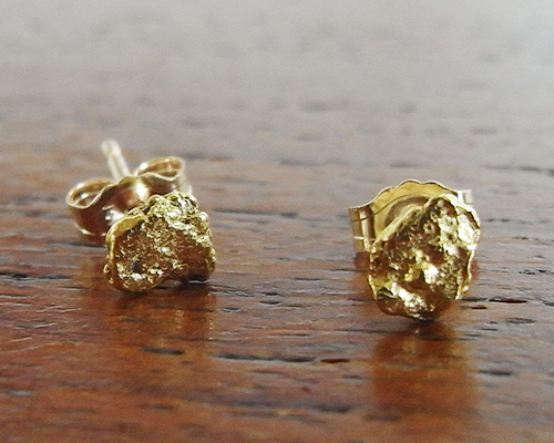 Gold Nugget Earrings - Small