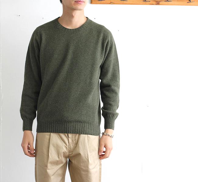 HARLEY OF 送料無料/新品 SCOTLAND ラムウール クルーネックニット 日本製 セーター