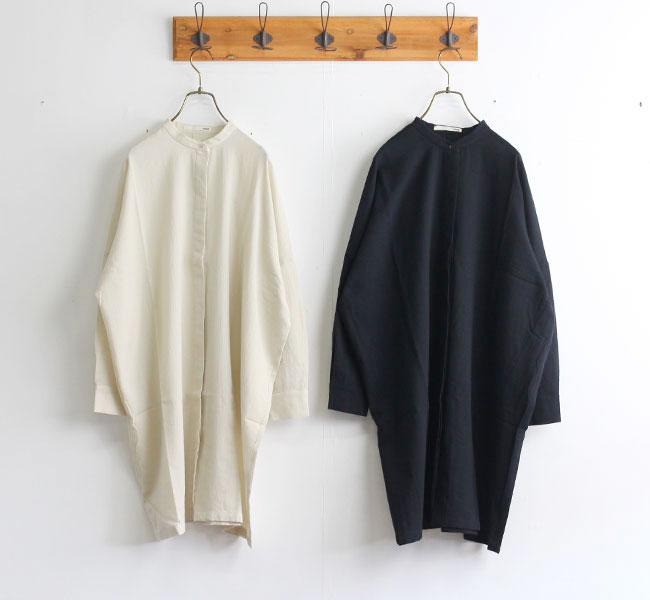 evam eva エヴァムエヴァ コットン バンドカラーシャツ cotton band collar shirts E203T010