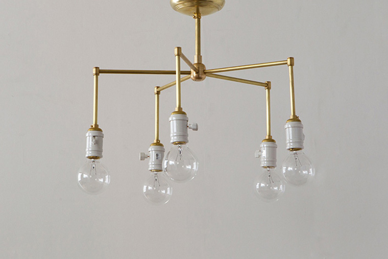 ACME FURNITURE アクメファニチャー SOLID BRASS LAMP 5ARM Porcelain ソリッドブラスランプ5アームポーセリン ペンダントライト