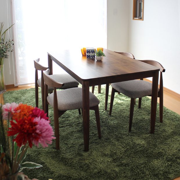 RENO リノ ダイニングセット 食卓 テーブルミッドセンチュリーモダンテーブル 幅130 奥行80 高72cmチェア 幅52 奥行48 高70cm生産国 ベトナム主素材 ウォールナット 無垢北欧 シンプル 5点
