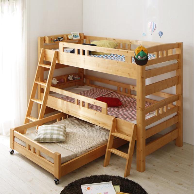 【TPR】3段ベッド フレームのみ モダンデザインロータイプ 分離式 3段ベッド天然木 多段ベッドゲストハウス 民宿 民泊 社員宿舎 学生寮