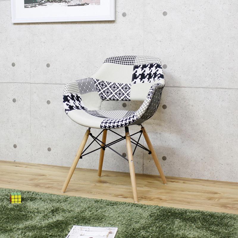 商品名 GB-CF ダイニングチェア 単品1脚 肘付き材 料 ファブリック/ビーチ材サイズ 幅60 奥行59 高さ82/座面高45cm組立式 北欧テイスト 食卓椅子 パッチワークおしゃれ ダイニング 椅子 レザー 食卓イス カフェ オフィス