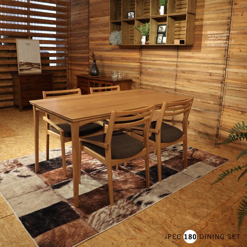 商品名|JPECジェペック ダイニング5点セットカラー| オーク ナチュラルサイズ| テーブル幅 180cm北欧テイスト ウレタン塗装