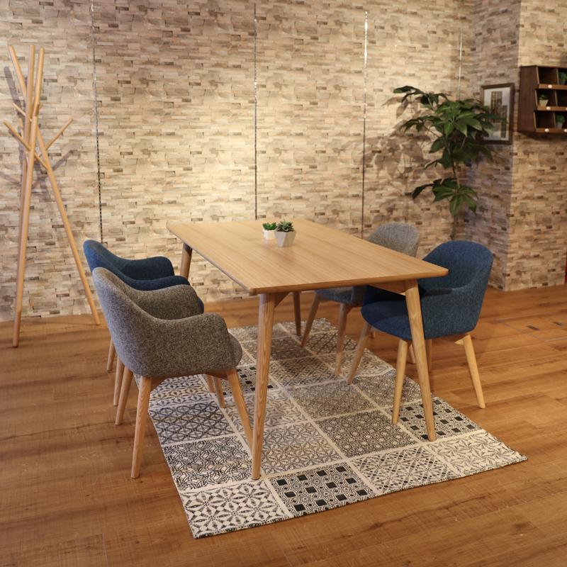 商品名|UNO ウノ ダイニング5点セットカラー|アッシュ ナチュラルサイズ| テーブル幅 150cm北欧テイスト 木部:ウレタン塗装 張地:ポリエステル