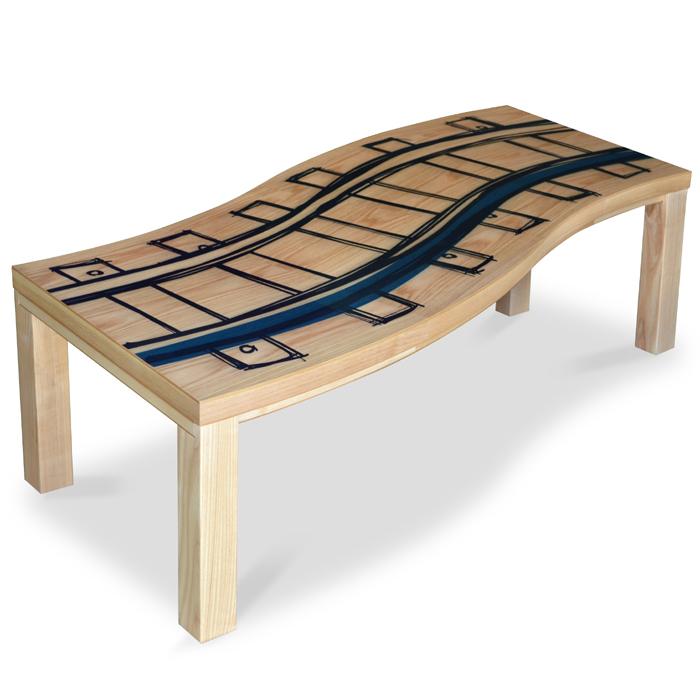 ツヅラ せんろ 150 変形天板こたつテーブル オリジナルデザイン家具調こたつ炬燵座卓 和モダン ちゃぶ台 ローテーブル北欧 ミッドセンチュリー おしゃれ こたつ 幅150cm 長方形こたつ布団対応国産 日本製 オールシーズンOK