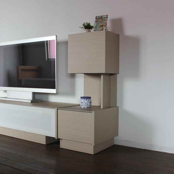 ENT 40cm サイドキャビネット 完成品レインクラウド オーク 色 木目 グレージュ幅 40 奥行44.5 高さ109cm 国産 日本製サイドボード 木製 北欧家具 fax台 リビング 収納 オフィス