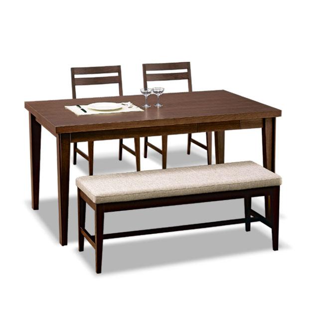 【在庫限りの数量限定セール】・ネイル ダイニングテーブル 135 4点セット ・テーブル + チェア2脚 + ベンチ1脚・北欧テイストのモダンスタイル・小引出し付き・天板はセラウッド塗装を使用・モダンリビング※ナチュラル色は完売