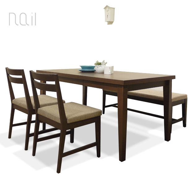 【在庫限りの数量限定セール】・ネイル ダイニングテーブル 150 4点セット ・テーブル + チェア2脚 + ベンチ1脚・北欧テイストのモダンスタイル・小引出し付き・天板にはセラウッド塗装を使用・モダンリビング※ナチュラル色は完売