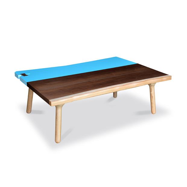 ・ヒーター付き モイトイのテーブル 120 くさび ウォールナット・かっこいいデザインの天板・北欧テイストのジャパニーズモダンデザイン・日本製のこたつ・バイカラー天板のこたつ 座卓 和モダン
