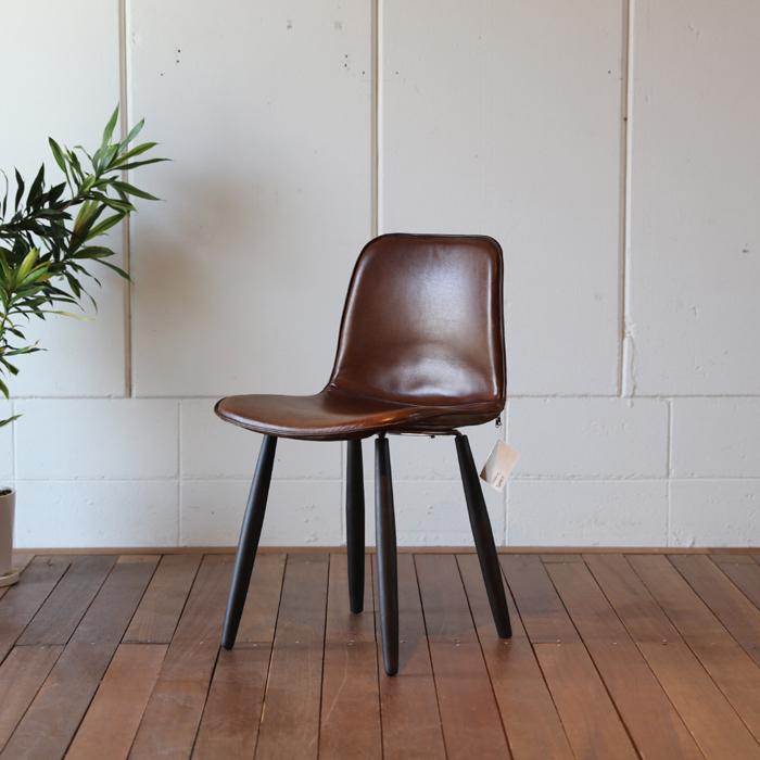 【FLX】チェアー 本革張りヴィンテージデザイン 幅約47 奥行51.5 高さ79.5cm本革張りのダイニングチェア北欧ミッドセンチュリーモダンデザインレトロモダンスタイルダイニング チェア 椅子 イス 完成品
