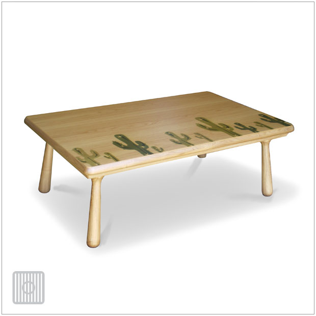 ・ヒーター付き こたつ 座卓 和モダン 120・Living Kotatsu Sand 120・北欧 ナチュラルモダンデザイン・リビングテーブル、こたつテーブル・サボテンイラストプリント天板・リビングテーブルとしてオールシーズン活躍