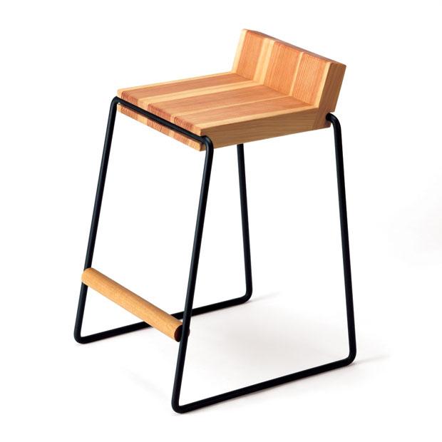 【 受注生産品 】・テツボ ハイスツール・デザイナーズ ブランド品・シンプルで北欧モダンなグッドデザイン・和ジャパニーズモダン日本製国産品・ダイニングチェア カウンターチェア・木製無垢材 アイアン・送料無料