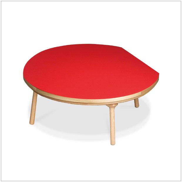 ・ヒーターなし 105 cm・DADON / レッド・北欧ナチュラルミッドセンチュリーモダンデザイン・座卓 和モダン ちゃぶ台 円卓 センターテーブル ローテーブル・ホットカーペットに最適ヒーターなしコタツ! ・赤 円形 丸 まる おしゃれ