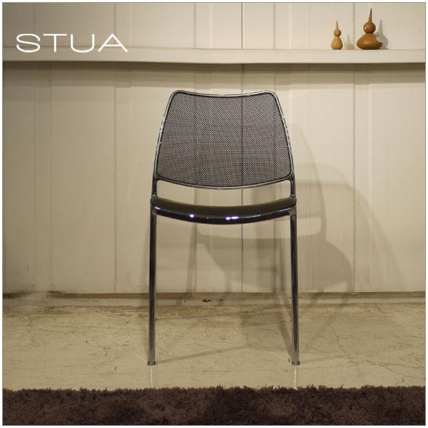 ・ガスチェアー(メッシュ)・STUA スペイン デザイナーズ・北欧ミッドセンチュリーモダンデザイン・ダイニングチェアー、イス、椅子・スタッキング可能・ブラック