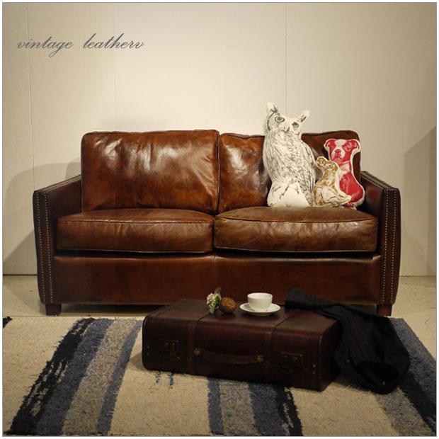 ・Vintage Leather Sofa - 06・2人掛け 2P ソファー ・アンティークモダンデザイン・鋲飾り ヴィンテージレザー・革 レザー 本皮張り椅子