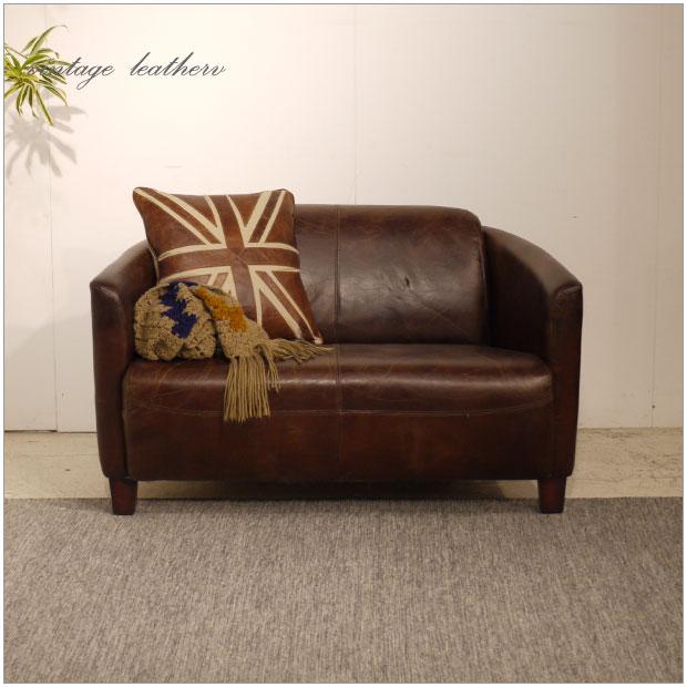 ・Vintage Leather Sofa - 11・1.5人掛け 1.5P ソファー ・アンティークモダンデザイン・ヴィンテージレザー・革 レザー 本皮張り椅子