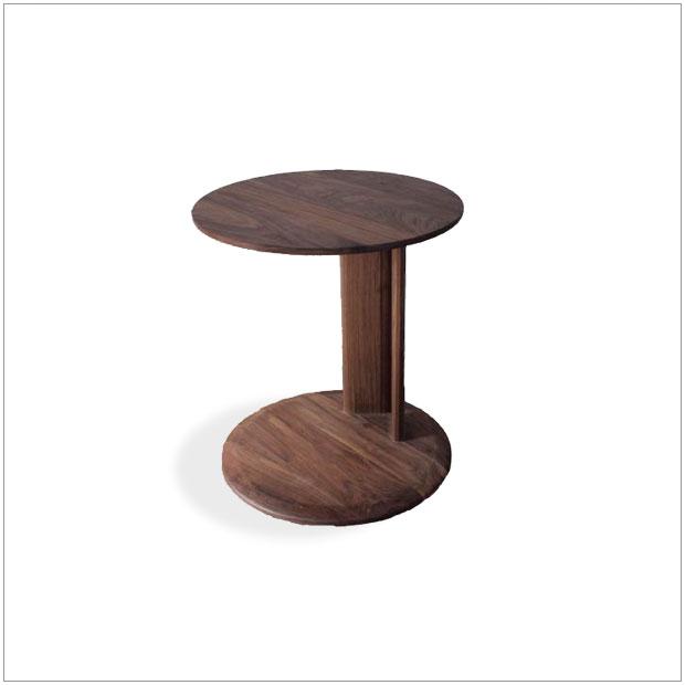 ・コンテ サイドテーブル (ワックス仕上げ)・シンプルモダン北欧デザイン ・リビングテーブル、ソファーサイドテーブル・円形 丸型・国産 日本製 高品質