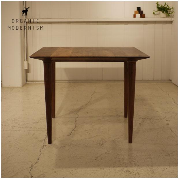 ・og フット ダイニングテーブル 正方形80・北欧ミッドセンチュリーモダンデザイン・オーガニックレトロモダンスタイル・ウォールナット無垢 ダイニングテーブル・木製テーブル、食卓