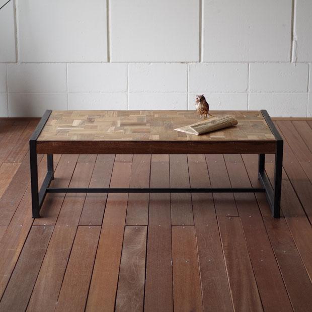 ・オールドチークのレトロテーブル110・北欧モダンシンプルデザイン・コーヒーテーブル ローテーブル・スチールフレーム・ジャワ職人のリサイクルオールドチーク