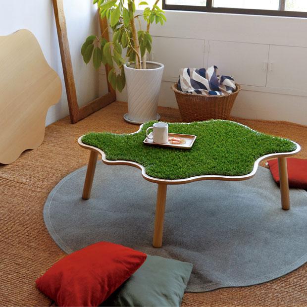 ・ヒーターなし・シバフのうねうねテーブル・Made in japan 日本製 国産品 ・北欧ミッドセンチュリーモダンデザイン・人工芝しばふグリーン・座卓 和モダン ちゃぶ台 ローテーブル・かわいいカタチのコタツ