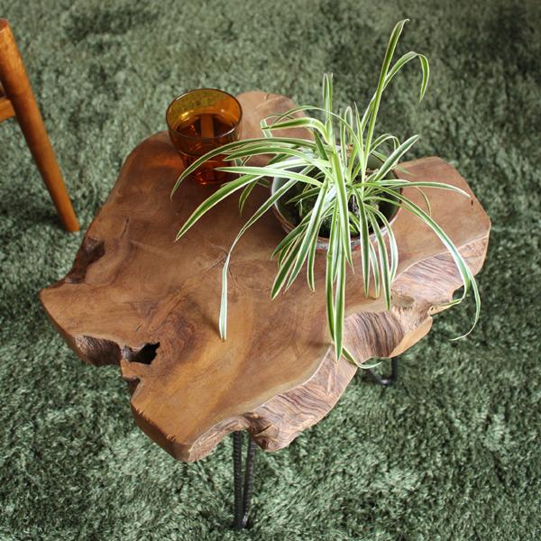 OLDNEW サイドテーブル 切り株ヴィンテージデザイン ラフさが魅力約幅40 奥行40 高さ45cmコーヒーテーブル スチール海外インテリア 北欧 モダン センターテーブル 木製 ヴィンテージ おしゃれ 人気 リビング 天然木 アイアン 西海岸