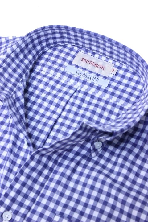 SOUTIENCOL(スティアンコル) Sanfrancisco 2014 80/1 Brushed Twill Gingham B/D Shirts D,Blue【Men's】