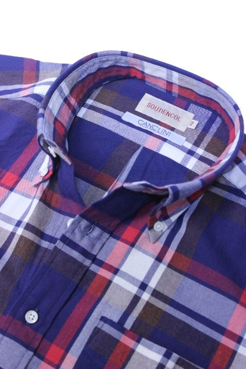 SOUTIENCOL(スティアンコル) Sanfrancisco 2014 Italy Fablic Brushed Check B/D Shirts Navy【Men's】