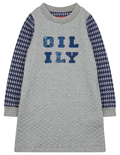 オイリリー OILILY 袖切り替えキルティングワンピース104/116/128/140/152サイズ