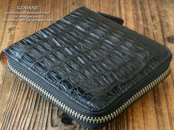 財布 メンズ GODANE ゴダン ラウンドファスナー 二つ折り 本革 カイマンクロコダイル spcw8002cp-BK 送料無料