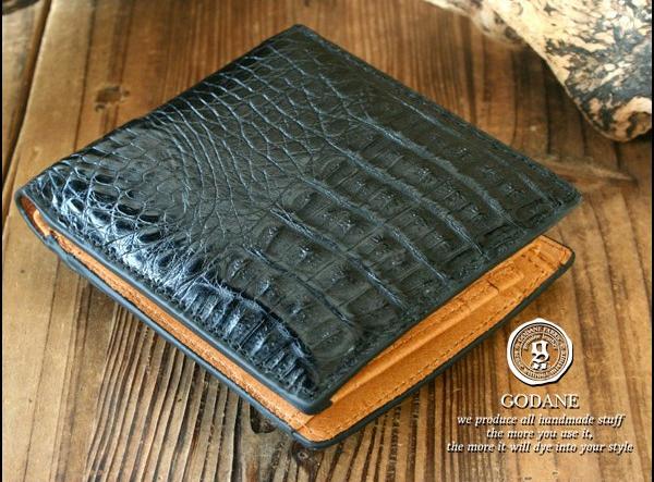 高級 財布 メンズ クロコダイル ワニ革 ブラック GODANE ゴダン spcw8007cpBK クロコ折財布 送料無料