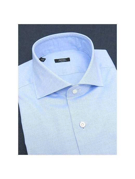 BARBA バルバ シャツ ドレス ワイドカラー ブルー コットン ロイヤルオックスフォード bar300611