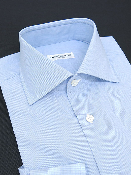 MONTESARO モンテサーロ シャツ ドレス ワイドカラー ブルー mot301601