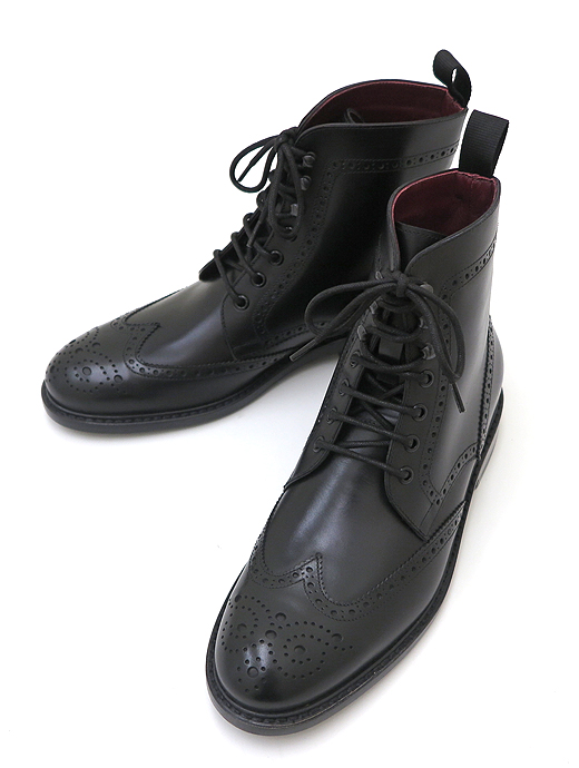 DI MELLA ディメッラ ブーツ シューズ ウィングチップ ブラック カーフ レザーソール マッケイ製法 dim321603