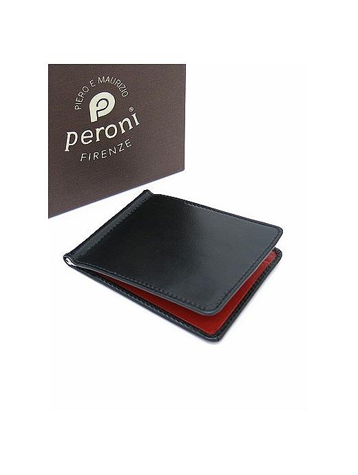 Peroni ペローニ マネークリップ カードケース付き ブラック×チェリー コンビカラー pe322010