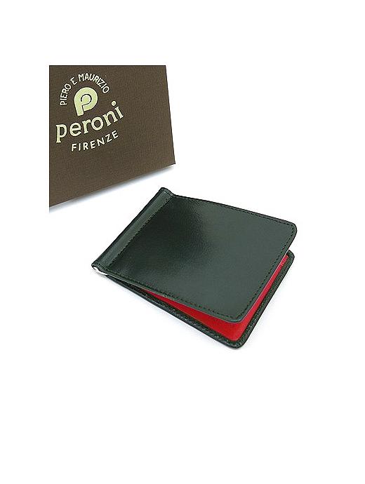 Peroni ペローニ マネークリップ カードケース付き グリーン×チェリー コンビカラー pe322011