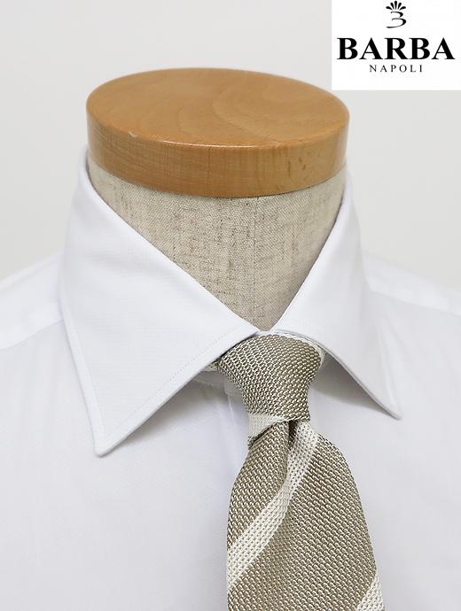 BARBA バルバ ドレスシャツ 高級ストレッチコットン ホワイト セミワイドカラー コンフォータブルな着心地 bar340601