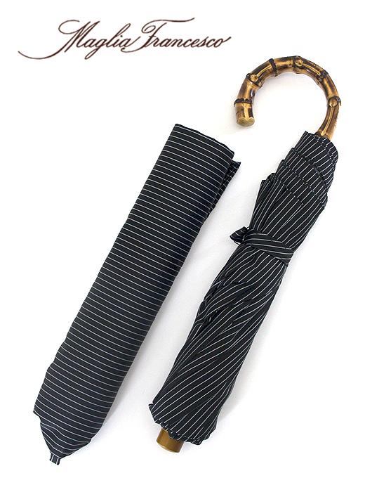 Maglia Francesco マリア・フランチェスコ 折り畳み傘 ブラック×ホワイト バンブー(竹)素材 イタリア製 maf341005