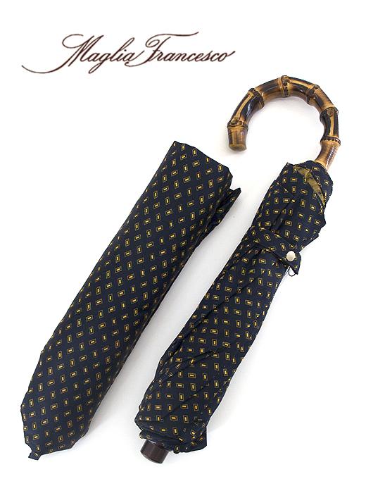 Maglia Francesco マリア・フランチェスコ 折り畳み傘 ネイビー×イエロー バンブー(竹)素材 イタリア製 maf341012