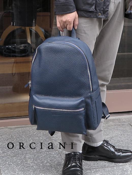 ORCIANI オルチアーニ リュックサック ネイビー シュリンクレザー レザーバッグ orc341816