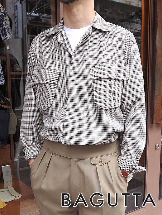 バグッタ Bagutta オーバーシャツ シャツアウター ホワイト×ブラック×ダークベージュ BRADK bag361201