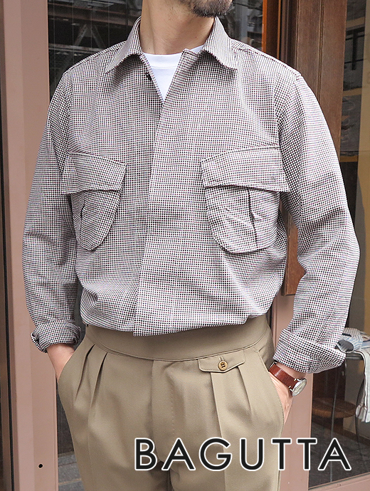 バグッタ Bagutta シャツアウター オーバーシャツ ホワイト×ブラック×ボルドー BRADK bag361202