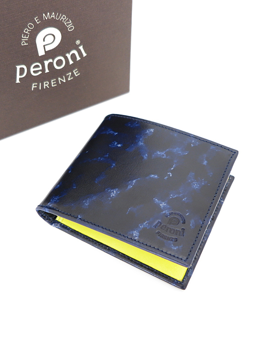 二つ折り財布【Peroni ペローニ】pe361202-ブライアーネイビー×イエロー