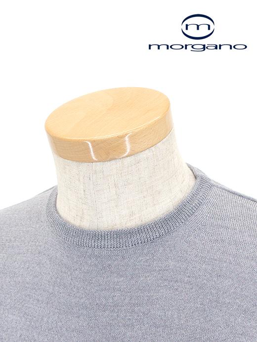 クルーネックニット/メリノウール【MORGANO/モルガーノ】mor361801-ライトグレー