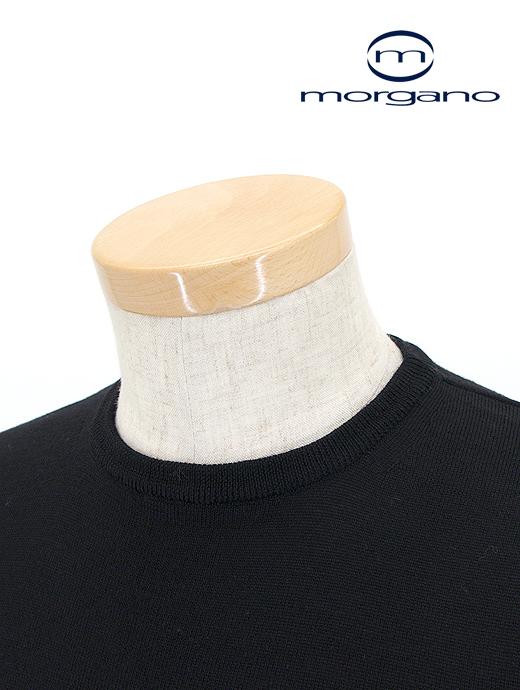 クルーネックニット/メリノウール【MORGANO/モルガーノ】mor361804-ブラック