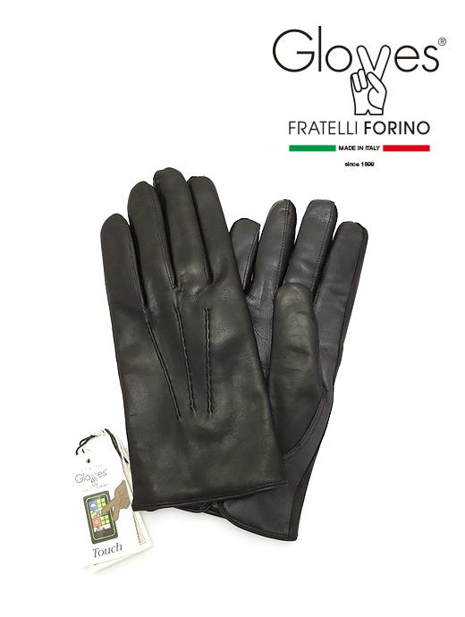 タッチパネル対応レザーグローブ/スマートフォン/スマホ【Gloves/グローブス】glo362201-ブラック